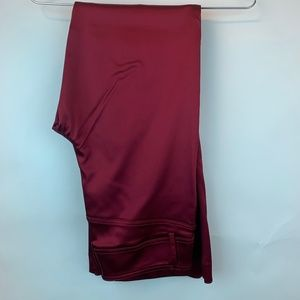 Cache Satin Pants Red Holidays Slacks Zip 8